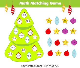 Mathematics children educational game. Match objects with numbers and decorate Christmas tree. Counting activity for kids and toddlers. New Year fun page. Learning subtraction and addition