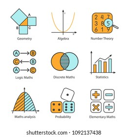 Mathematics color icons set. Algebra and geometry. Logic, discrete, elementary maths, statistics, number and probability theories. Isolated vector illustrations