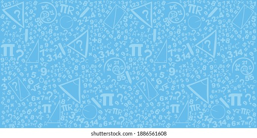 Mathematics concepts background. Concept of education. School vector seamless pattern with math formulas, calculations and figures. Algebra, geometry, statistics, basic maths. Vector Illustration