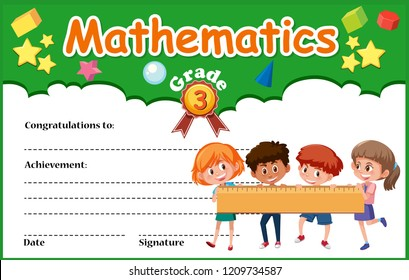A mathematics diploma ceertificate template illustration