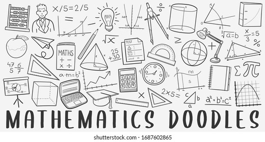 Mathematics Doodle Line Art Illustration. Hand Drawn Vector Clip Art. Banner Set Logos.