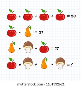 Mathematics educational game for children. Advanced level. Learning multiplication, addition, subtraction equations worksheet for kids. Math Puzzle with apple, pear and mushroom. For logical thinking.