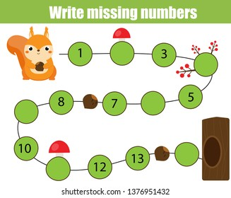 Mathematics educational game for children. Complete the row, write missing numbers. Help squirrel find road to tree. math activity for preschool kids and toddlers