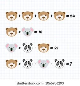 Mathematics educational game for children. High level. Learning multiplication, addition, subtraction equations worksheet for kids. Math Puzzle with Bear, Panda, Koala. Task for logical thinking.