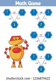 Mathematics educational game for children. Vector illustration.