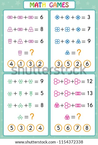 mathematics educational game kids fun worksheets stock vector  mathematics educational game for kids fun worksheets for children kids  are learning to solve