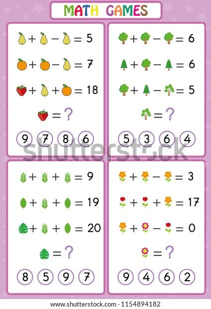 Mathematics Educational Game Kids Fun Worksheets Stock