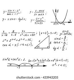 Mathematics equations on whiteboard. Education vector background.