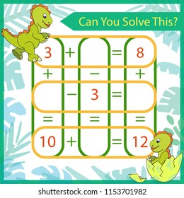 Mathematics exercise with cute cartoon dinosaurs. Count game. Solve a mathematical problem. Children funny riddle entertainment. Kids game and activities page. Vector illustration.