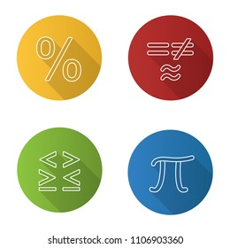 Mathematics flat linear long shadow icons set. Pi, percent, equality and inequalities signs. Vector outline illustration