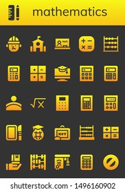 mathematics icon set. 26 filled mathematics icons.  Collection Of - Architect, School, Blackboard, Calculator, Abacus, Education, Convex, Math, Dissection, Protractor