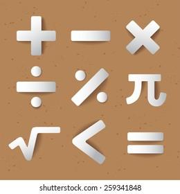 Mathematics Icon Set : Equation Set :Vector Illustration