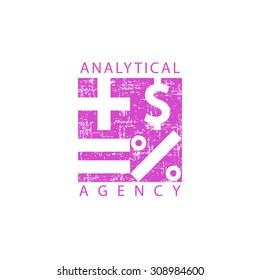Mathematics logo analytical agency, calculator mathematical signs, economy or financial school emblem.