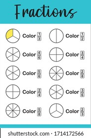 Mathematics, math worksheet for kids. Circle the correct fraction.  Printable Fractions Worksheets. Fraction addition problems.