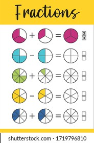 Mathematics, math worksheet for kids. Circle the correct fraction.  Printable Fractions Worksheets for kids. Fraction addition problems.
