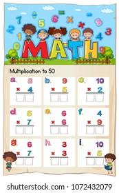 Mathematics Multiplication Work Sheet for Student illustration
