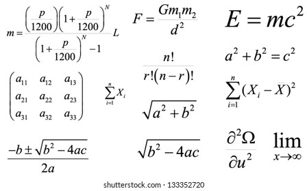 Mathematics and Physics vector formulas and expressions. Layered and fully editable. The most popular and common: loan payments, quadratic, gravity, Einstein's energy, the Pythagorean theorem etc