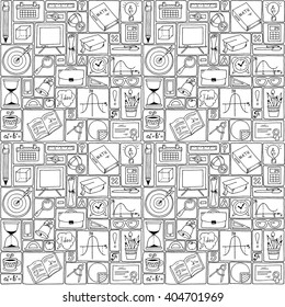 Mathematics science theme. Seamless hand drawn pattern about school and learning. Teacher's day background. Math backdrop. Education background design. Science black and white vector.