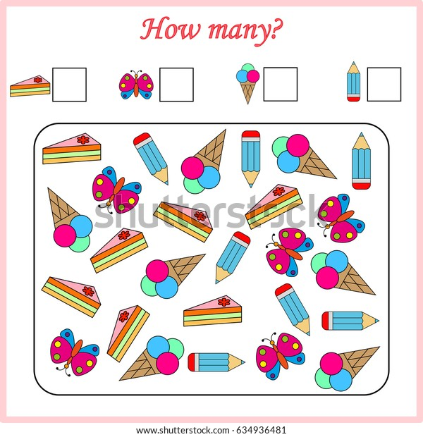 Mathematics task. How many objects. Learning mathematics, numbers. Tasks for addition (counting) for preschool kids, children. worksheet for preschool kids.