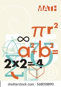 Mathematics. Vector cover. A background from scientific math formulas. For  textbook, book, notebook, flyers, poster, booklet