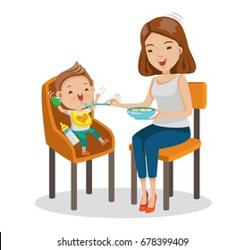 Mather is feeding Little son. baby sitting in the highchair. Standard vector graphics creative and versatile  to use as illustrations cartoon for print, web, interactive,Isolated on white background