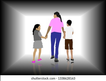 mather's hand holding her daughter and son with isolated on white background,single mom concept