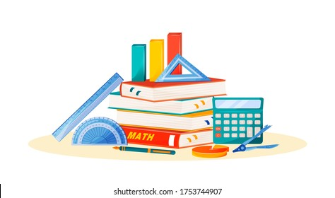 Maths flat concept vector illustration. School subject. Formal science metaphor. Algebra and geometry class. University course. Student textbook, calculator and ruler items 2D cartoon objects