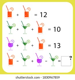 Maths game with pictures  for children, easy level, education game for kids, preschool worksheet activity, task for the development of logical thinking, vector illustration