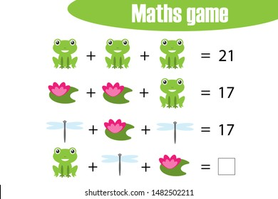 Maths game with pictures of pond life for children, middle level, education game for kids, preschool worksheet activity, task for the development of logical thinking, vector illustration