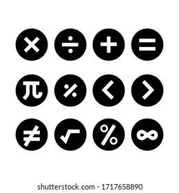 maths symbols icons, vector illustration.