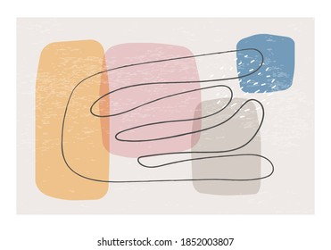 Matisse inspired contemporary collage wall art with textured abstract organic shapes in neutral colors, vector illustration