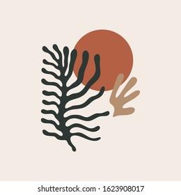 Matisse inspired leaf shapes colorful collage design elements. Vector illustration. Clipart image.