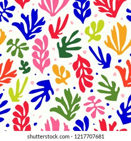 Matisse inspired shapes seamless floral pattern, colorful design, vector illustration