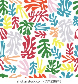 Matisse inspired shapes seamless pattern, colorful design, vector illustration