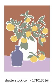 Matisse Style Fashion Graphic with Orange Tree Branch in a Vase, abstract painting. Mediterranean vibe