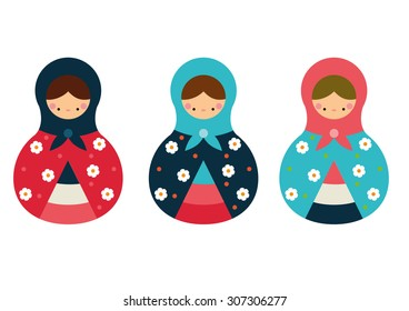 Matrioshka Dolls set vector
