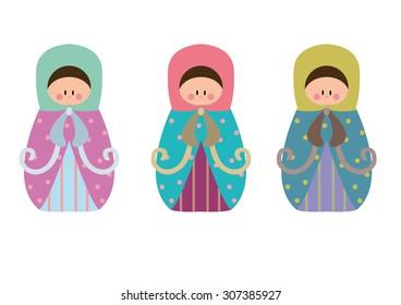 Matrioshka dolls set vector