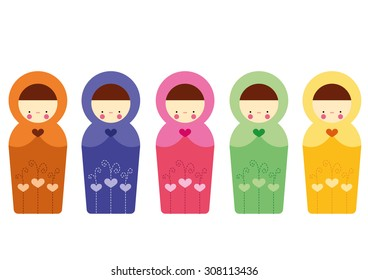 Matrioshka Set Vector