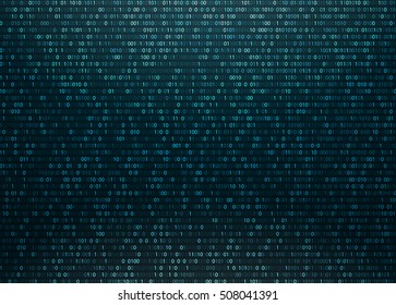 Matrix Background with blue light. Binary Computer Code. Vector Illustration.