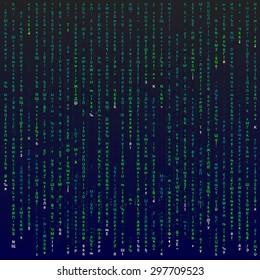 Matrix background with the green symbols, vector editable illustration.