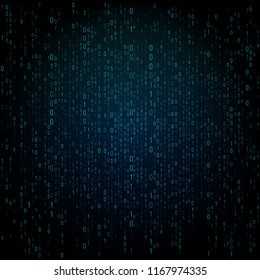 Matrix blue texture with digits. Binary code, abstract futuristic cyberspace background. Data analisys pattern.