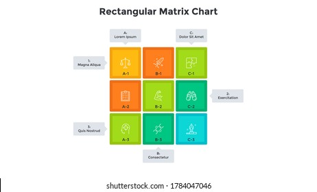 Matrix chart with 9 colorful square cells with letters and numbers arranged in rows and columns. Table with nine business options. Minimal infographic design template. Modern vector illustration.