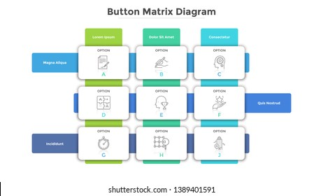Matrix diagram with 9 paper white rectangular cells or buttons arranged in rows and columns. Table with nine options to choose. Simple infographic design template. Modern flat vector illustration.
