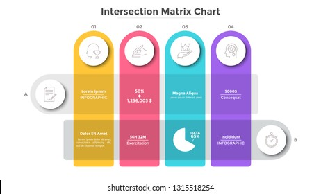 Matrix diagram with colorful intersected stripes. Modern scheme or table with rows and columns. Flat infographic design template. Creative vector illustration for presentation, report, banner.
