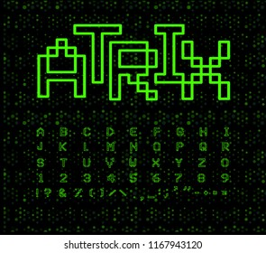 Matrix font, geometrical lines. Green digital letters on black cyberspace background. Electronic retro game alphabet.