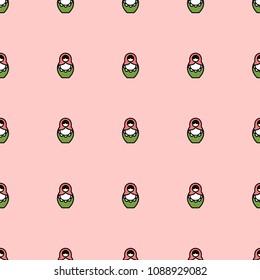 Matryoshka cute girly seamless pattern