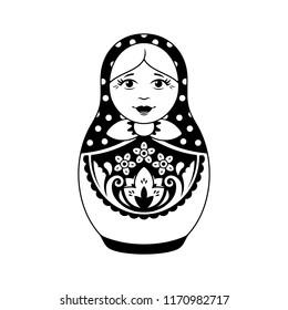 Matryoshka Doll Monochrome Vector Logo