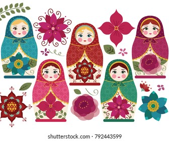 Matryoshka Dolls / Traditional Russian Nesting Dolls
