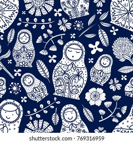 Matryoshka and flowers. Cute babushka.Seamless pattern can be used for wallpaper, pattern fills, web page background, surface textures.