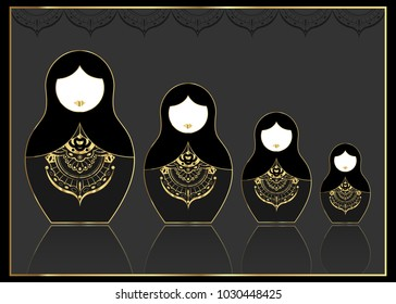 Matryoshka gold set icon Luxury Russian nesting doll with golden ornament, vector illustration, isolated or black background. Luxury Template for greeting card, invitation, bookmark and label concept